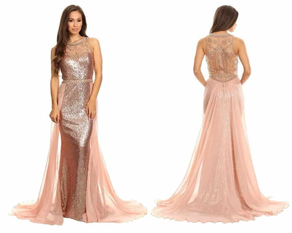 Sequined Illusion Halter Evening Dress with Sheer Overlay