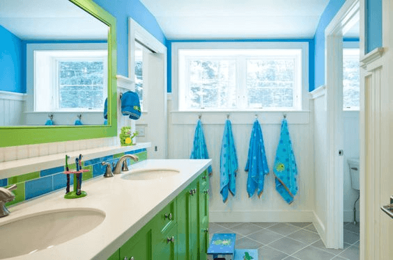 Green and Blue Bathroom Shades