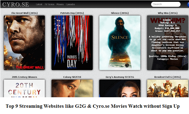 Top 9 Streaming Websites like G2G and Cyro.se Movies Watch without Sign Up